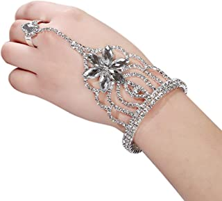 Indian Crystal Hand Harness Slave Bracelet Chain Link Bangles Finger Ring Set