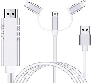 AMANKA Adaptador Cable HDMI,1080P Adaptador 3 in 1 AV Digital Convertidor Telefono a HDMI Adaptador para Teléfono a Monito...