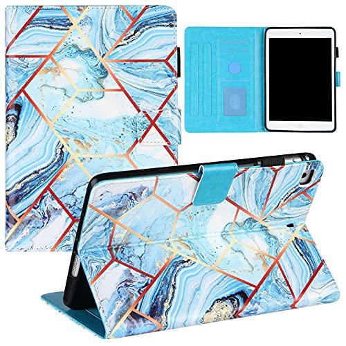 Funda tipo cartera para iPad Mini 3 (7.9'') (2014) (3ª generación), mármol Smart Folio Cover Auto Sleep Magnetic Flip Funda protectora de cuero con soporte y ranura para tarjetas, azul blanco