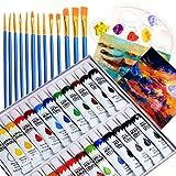 Colori Acrilici per Dipingere Professionali con 24 tubi Pittura,13 Pennelli,1 tavolozza, 2 Tele,Colori Acrilici per Pittura Tela,Argilla, Tessuto, Ceramica,per Bambini, Principianti, Artisti
