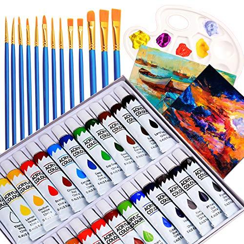 24 Colori Acrilici per Dipingere, set di Pittura con 13 Pennelli,1 tavolozza, 2 Tele, Colori Acrilici per Pittura Tela, Argilla, Tessuto, Ceramica, per Bambini, Principianti, Artisti