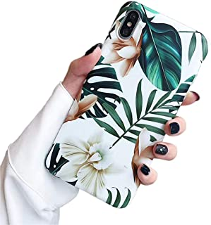 iPhone 7 Plus Case iPhone 8 Plus case,Yoopake 8 Plus Cases for Girls Women Thin Slim TPU Soft Case with Green Leaves Floral Unique Art Pattern Protective Cover Phone case for Apple iPhone 8 Plus 5.5