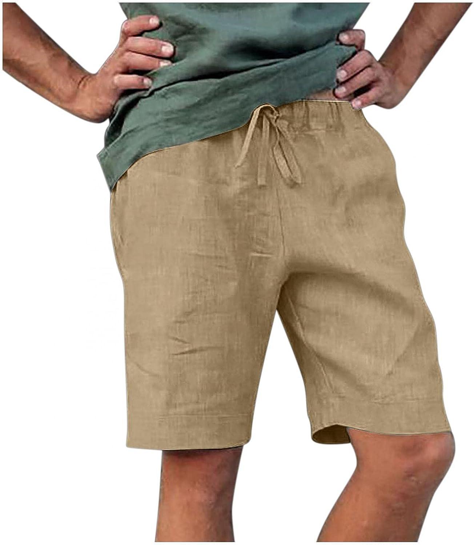 Sumen Mens Cargo Shorts with Pockets Plain Workout Shorts Cotton Linen Men's Casual Jogger Cargo Short Pants