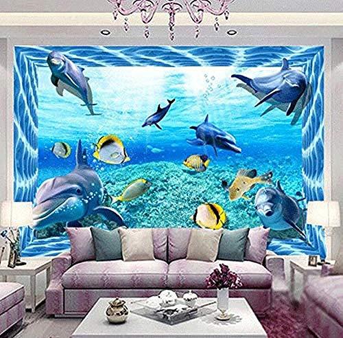 Papel pintado 3D para suelo, pez delfín, decoración del suelo del baño, Mural, Pvc, autoadhesivo, impermeable, Pared Pintado Papel tapiz 3D Decoración dormitorio Fotomural sala sofá mural-430cm×300cm