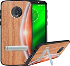 HHDY Compatible with Moto G6 Plus Case with Metal Kickstand, Hard Natural Wood Back, Wooden Cover for Motorola Moto G6 Plus, Moon