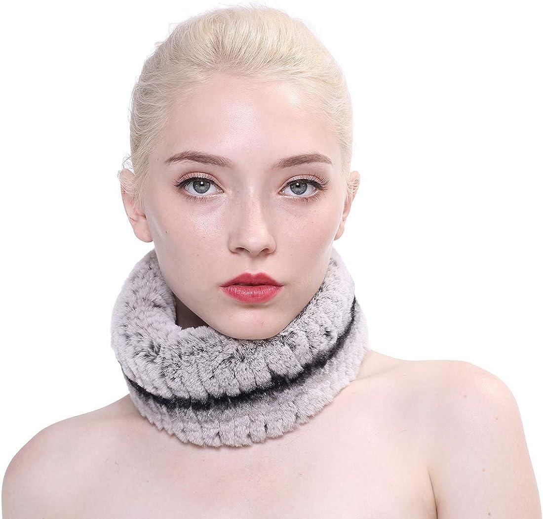 Max 41% Charlotte Mall OFF URSFUR Women Fur Scarves Winter Real Rex Weave Rabbit Collar