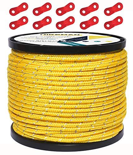 HIKEMAN 50M reflektierende Schnur Guy Seile Outdoor Zelt Führungsseil 100% Nylon Schnur Windlinie mit 10 Stück Aluminiumlegierung Spanner für Camping (Yellow, Diameter 4 mm)