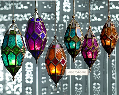 Klass Home Collection Authentic Moroccan Lampshade Style Classic Vintage Turkish Indoor Garden Tonal Glass Lantern Hanging Candle Tea Light Holders for Decorations, Green, Large Turquoise