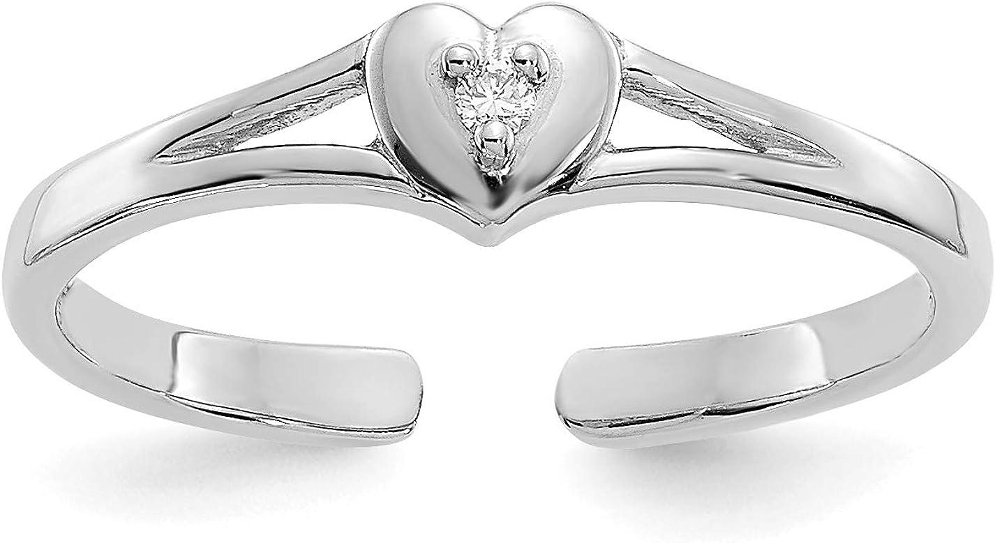 14k White Gold Diamond Heart Split Shank Toe Ring (0.01 cttw, I1 Clarity, H-I Color)