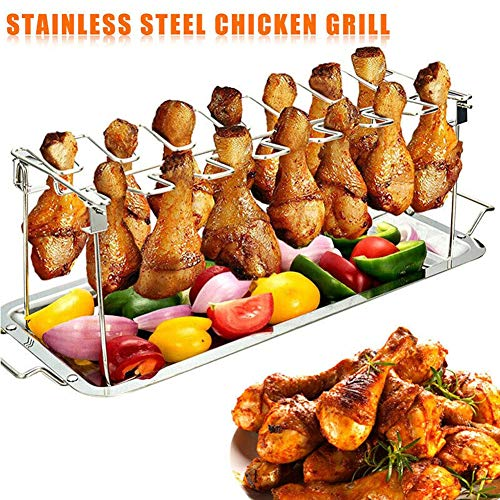 Daxin 14 Slots Chicken Leg Wing Metal Rack with Drip Tray, Stainless Steel Roaster Stand for Dishwasher Safe, BBQ Juices, Great, Smoker Grill or Oven for BBQ, Picnic