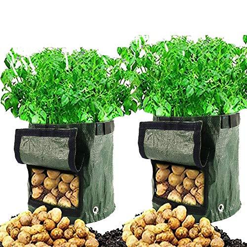 Cefrank Bolsas para Cultivo de Patatas, Bolsas para macetas con Ventana abatible y asa, hortalizas de Cultivo, Patata, Zanahoria, Tomate, Cebolla, Paquete de 2 (50L - 7 galones - 34 x 35cm)