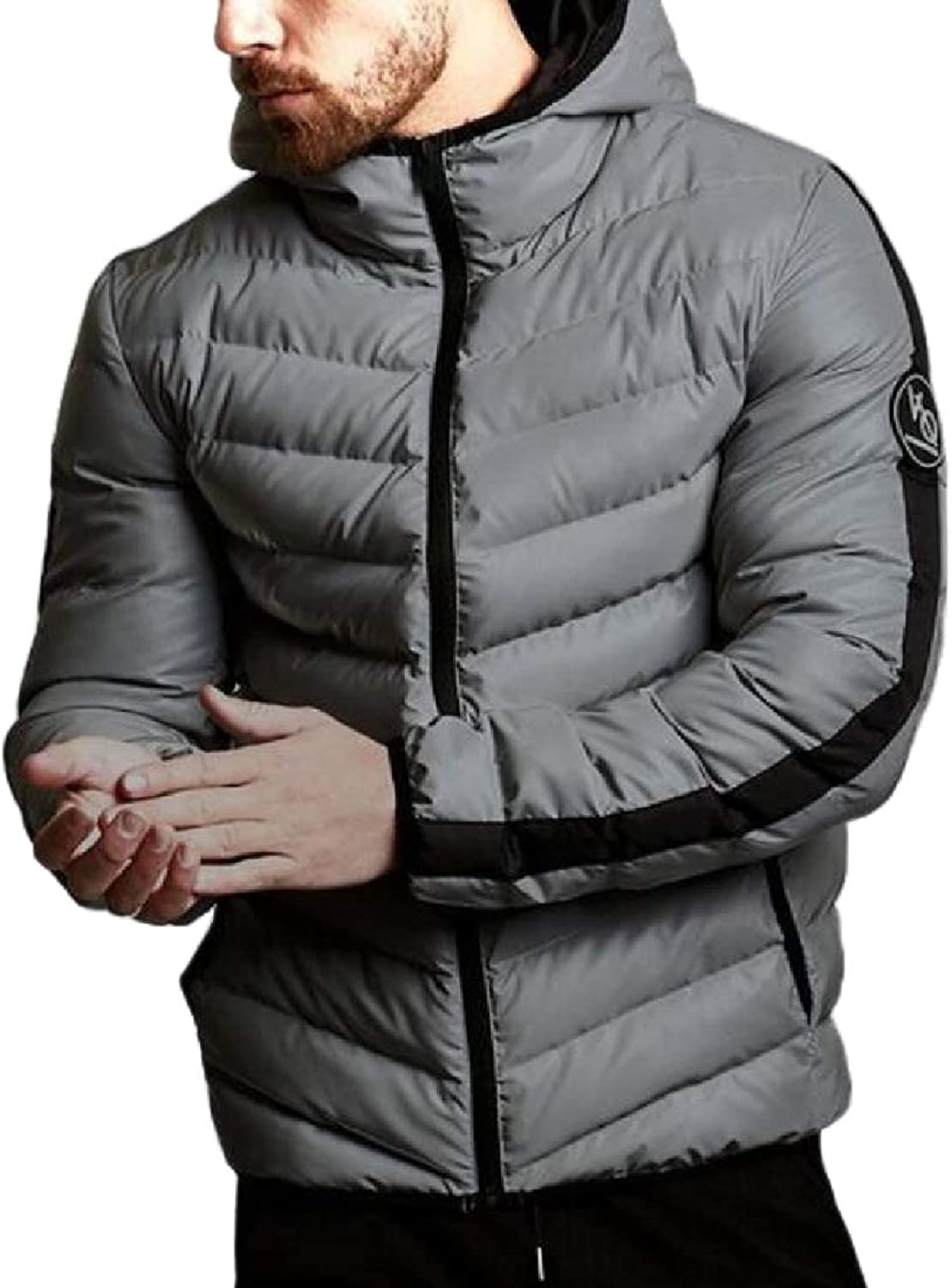57e0eaedf ROHEP Men with with with Hood Fit Warm Thicken Brumal Sports Zip Up Outdoor  Coat ac0640