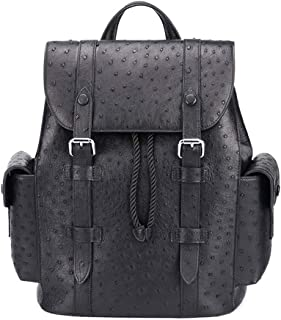 FAGavin Mochila de piel de avestruz sudafricana, color negro, informal, para hombre, de piel, bolsa de viaje para hombre u...