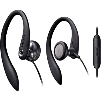 Philips Over The Ear Sport Earbuds with Mic, Earphones for Sports, Running and Gym