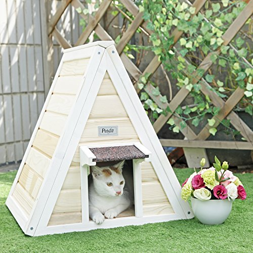 Petsfit Outdoor Triangle Cat House with Escape Door for 1-2 Cats
