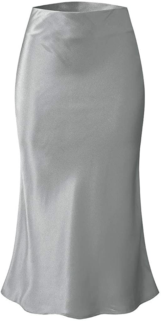 Jiusike Women's Solid Color Below Knee Skirt Versatile Stretchy High Waist Long Skirt Spring Summer Casual Skirt