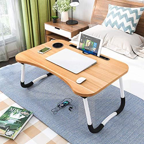 Barbieya Notebook-Tisch, Schlafsaal mit kleinem Schreibtisch, Bett mit Laptop-Tisch, Klapptisch, kleines Wohnheim, mit Tassenschlitz (60 x 40 cm)