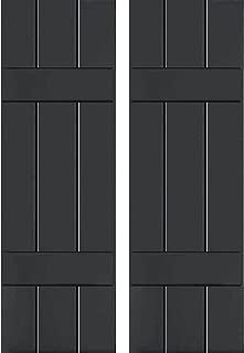 Ekena Millwork CWB12X042BLC Exterior Three Board Composite Wood Board-N-Batten Shutters with Installation Brackets (Per Pair), Black, 12