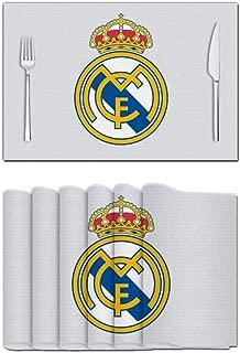 812 R-EAL Madrid Vinilo 3D manteles de PVC Aislante de Calor Resistente a Las Manchas Antideslizante manteles de Mesa Cocina Comedor decoración, Blanco, 4 Unidades