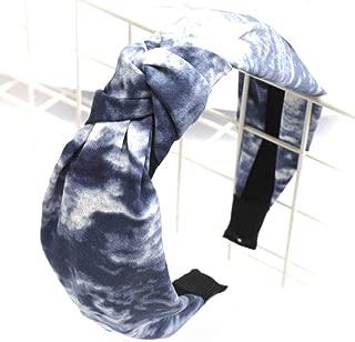 SOMEWHERE HAUTE Ladies Fabric Tie Dye Trendy Top-knot Headband Fashion Hair Accessory (Blue Tie-dye)