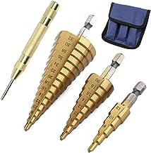 Juego de 3 brocas de acero de alta velocidad con resorte automático para taladro central de 4 a 12 mm, 4 a 20 mm, 4 a 32 mm