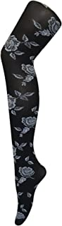 Ladies 40 Denier Opaque Black Tights Roses Designs One Size, 4-10 US