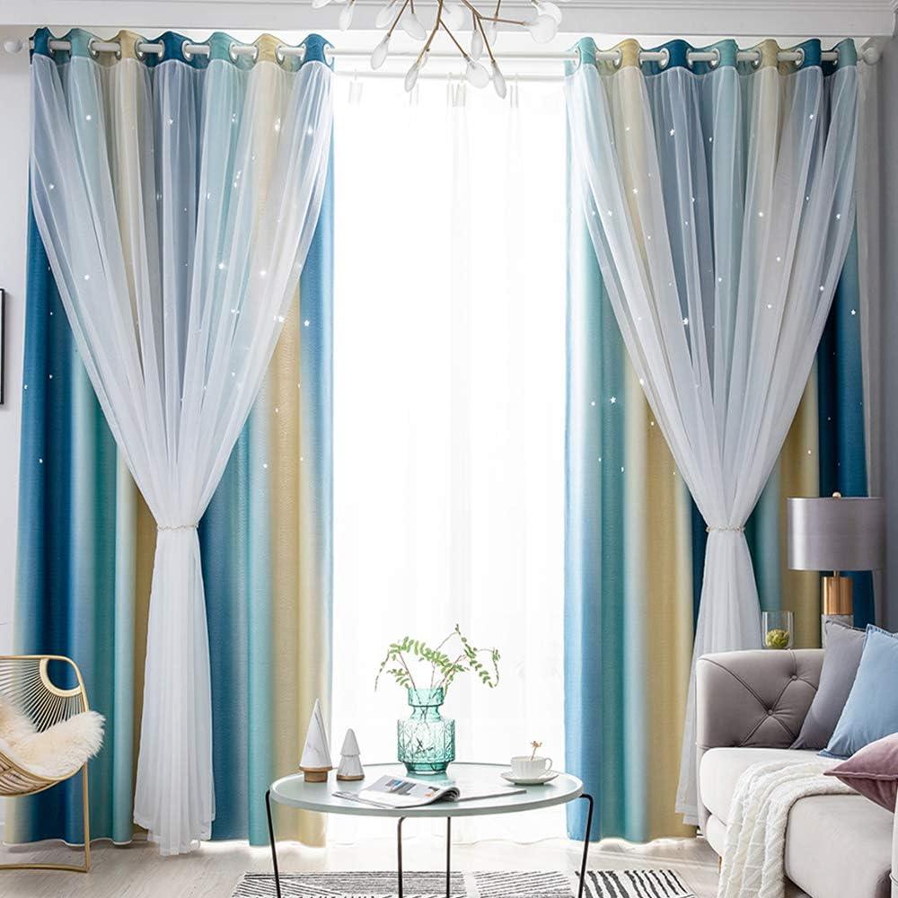 Kids Star Blackout Curtains Gradient Blue Drape Window Curt Sale Philadelphia Mall price