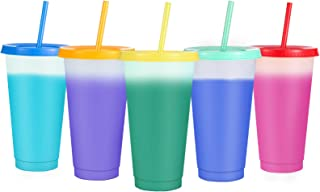 24OZ Color Changing Cup 5 Pack With Lid and Straws,Sursip Summer Coffee Tumblers Party Cup for Adults BPA Free