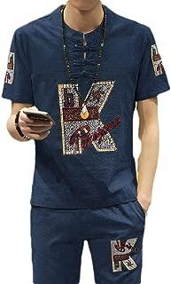 RkBaoye Mens Linen Sport 2 Piece Set Summer T-Shirt Relaxed-Fit Sweatsuit Set