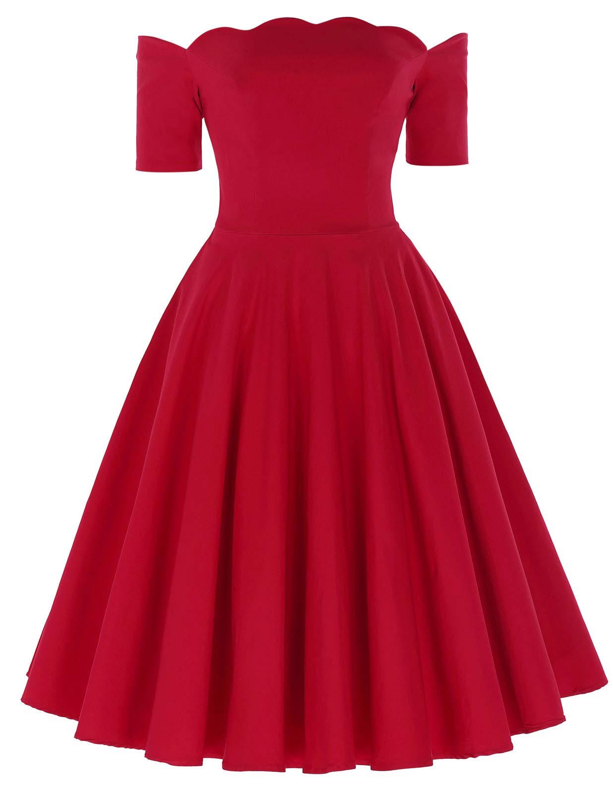Red Dress - Women's Off Shoulder High Split Long Formal Party Dress Evening Gown