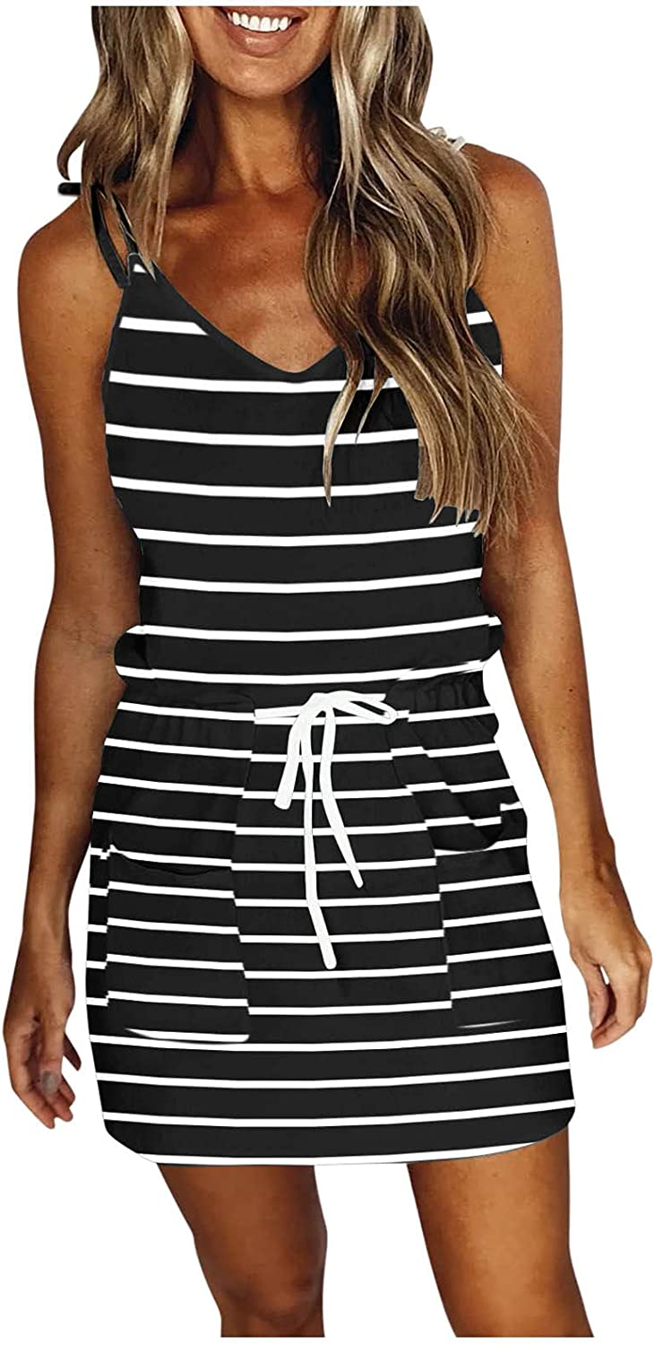 TAYBAGH Summer Dresses for Women 2021, Women's Casual Strap Printed Dress V-Neck Sleeveless Loose Mini Dress with Pocket