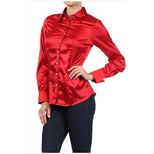 423b75066 Iron Puppy Womens L/Sleeve Satin Blouse Button Down Shirts with Cuffs
