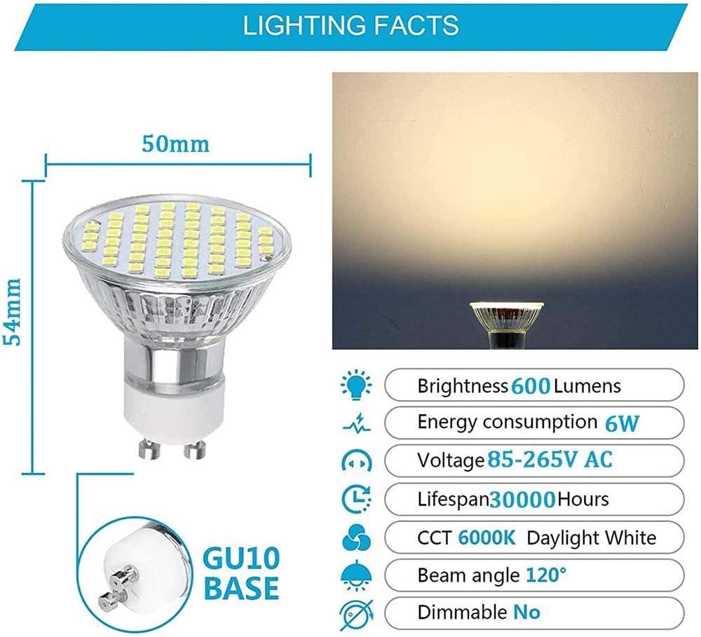 HHGN 10x 6W GU10 LED Bulbs GU10 Spot Lights 600LM Replace 60W Halogen Wide Pressure 85-265V 120/°Beam Angle No Strobe,Warm White,A
