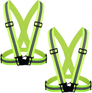 FLYTT Reflective Vest 2 Pack,  Elastic and Adjustable Reflective Gear for Running,  Walking,  Jogging, Cycling, Motorcycle (Green)