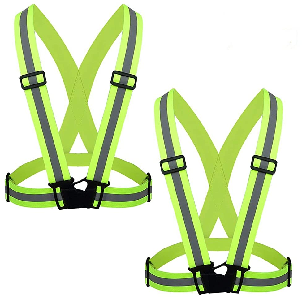 Flytt Reflective Vest 2 Pack, Elastic and Adjustable Reflective Gear for Running, Walking, Jogging,Cycling,Motorcycle (Green) w52735520716507