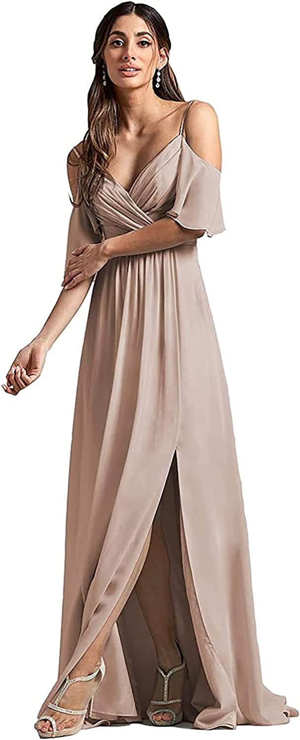Off The Shoulder Bridesmaid Dresses with Slit Long for Women A-Line Chiffon Formal Wedding Party Maxi Gown