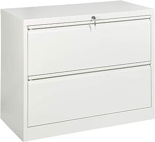 Armoire de classement latérale large en acier gris à 2 tiroirs verrouillables à plat, facile à monter, vidéo disponible – ...