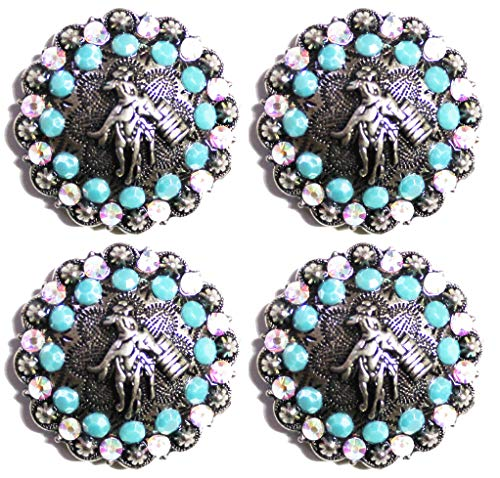 Lot of 4 Conchos Horse Saddle Western Tack Bridle Barrel Turquoise Bling CO228