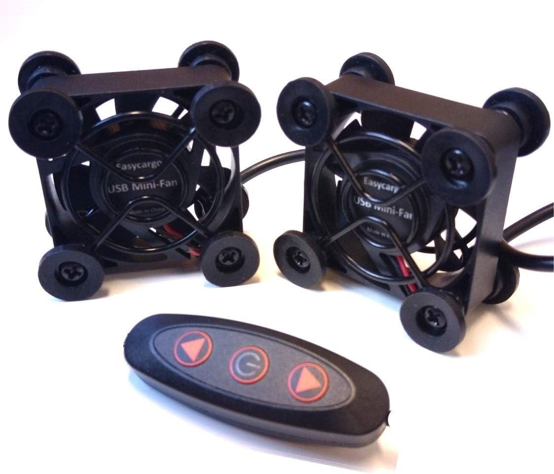 Easycargo 2-Pack 40mm USB Fan Quite, USB Mini Fan 5V, Cooling Small Fan with Multi Speed Controller (45x45x23mm)