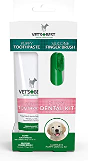 Vets Best Puppy Dental kit with Puppy Toothpaste and Silicon Finger Brush, white/green