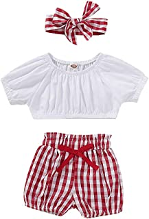 Honykids Baby Girl Summer Outfits Short Sleeve Top Red Plaid Pants Headband Clothes Sets