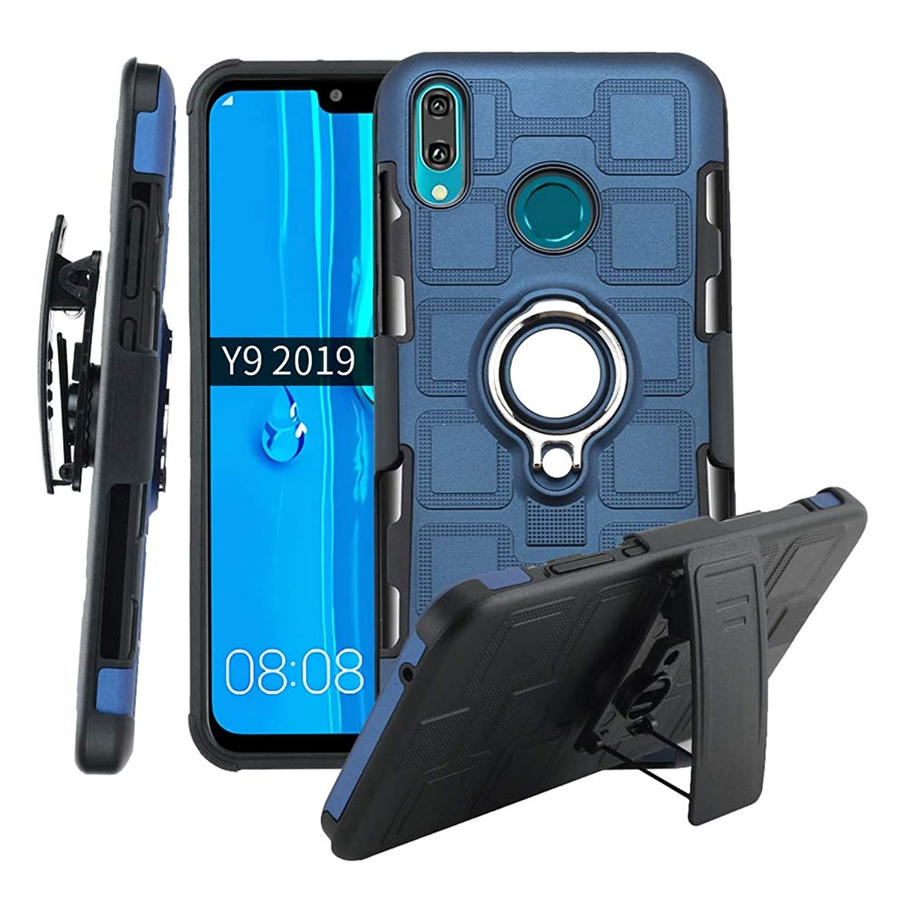 Lantier High Impact 3 Layer Hybrid Full Shockproof Armor Rugged Holster Protection Case with Kickstand Magnet 360 Degree Rotating Ring Belt Swivel Clip for Huawei Y9 2019 Dark Blue vrmrtr2030265697