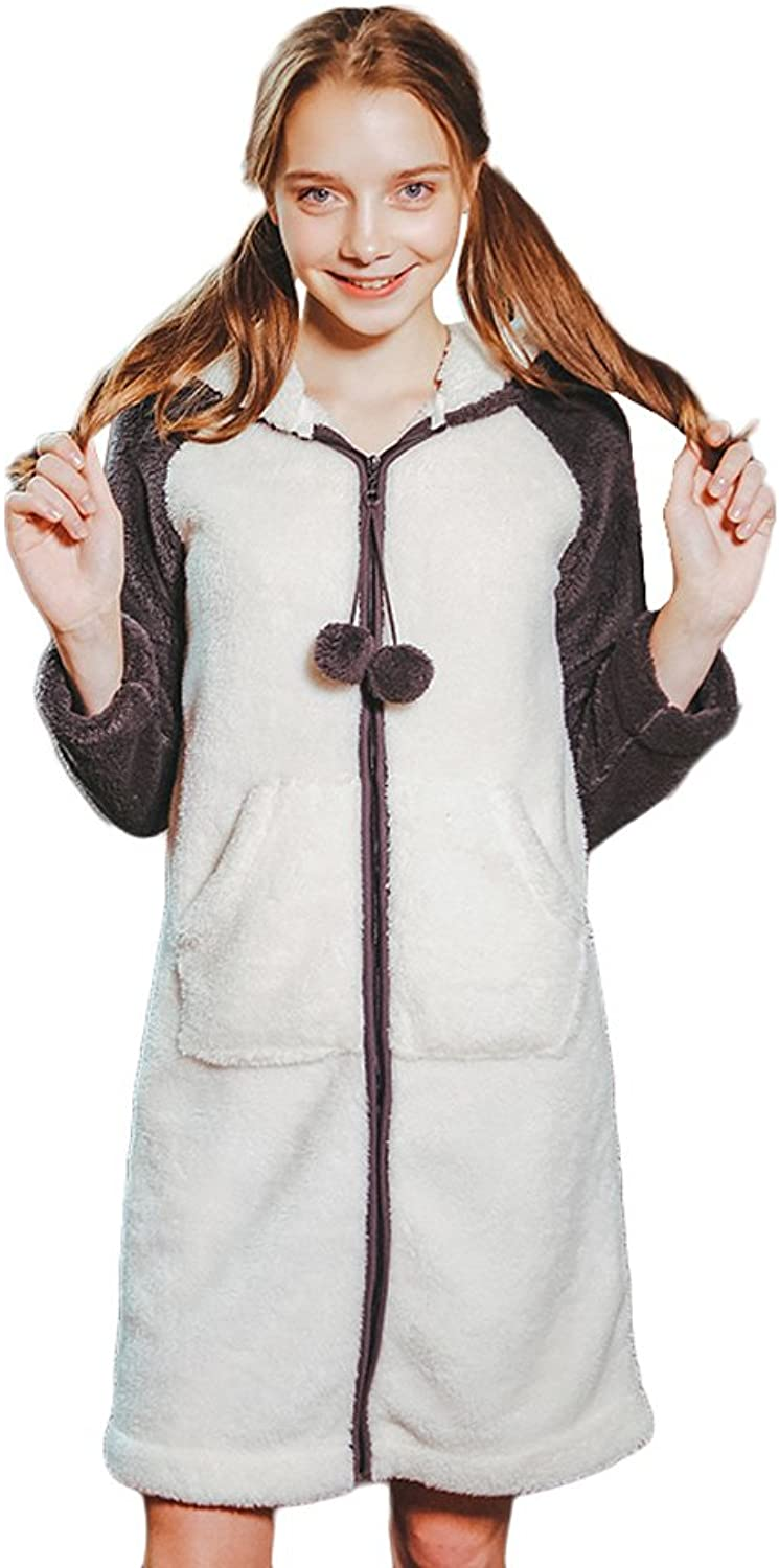 Autumn And Winter Season Cute Panda Home Clothing Soft And Comfortable Sweet Zipper Pajamas Dress Fashion Keep Warm jacket ( color   White , Size   M )