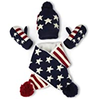 Vbiger Kids 3-Pieces Knit Hat + Scarf + Gloves Set