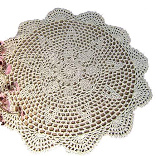 Laivigo New Handmade Crochet Lace Round Placemat Doilies Doily,24 Inch,Beige