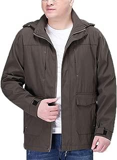 Large Size Men's Jacket Loose Outdoor Casual Warm Detachable Cap Windbreaker Tooling Fashion Wild Sports Jacket (Color : Khak, Size : XXXXL)