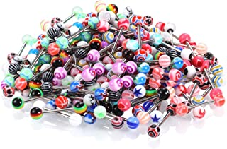 Xpircn 120PCS 14G Tongue Rings Assorted Colors Acrylic Ball Stainless Steel Tongue Barbells Flexible Piercing Jewelry