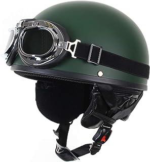 SDKUing Casco Jet Moto Scooter Motorino Chopper Casco Scodella /·Demi Jet Motociclo Casco Aperto del Fronte Mezzo Visiera UV Occhiali di Protezione Retro Vintage Stile Omologato ECE