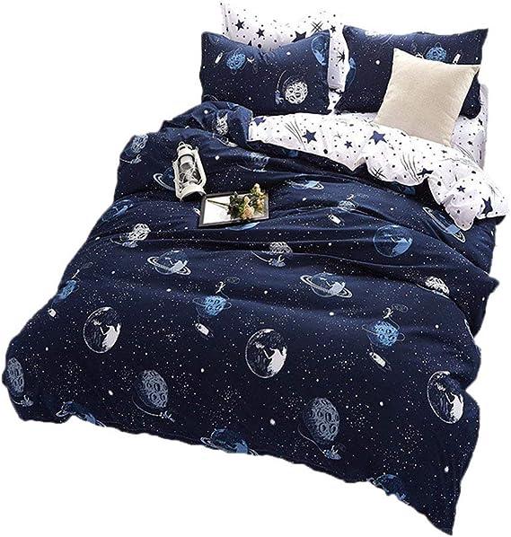BeddingWish Blue Cartoon Star Universe Planets Beddding Set(No Comforter and Sheet) for Kids Teen Boys and Girls