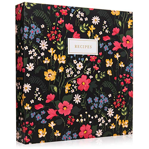 Jot & Mark Recipe 3 Ring Binder 8.5x11 | Full-Page with Clear Protective Sleeves and Color Printing Paper for Family Recipes (Midnight Bloom)